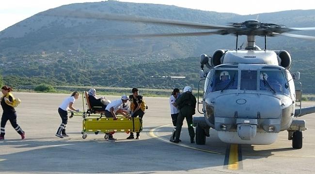 Gökçeada'daki hasta askeri helikopterle taşındı