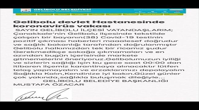 Gelibolu Belediye Başkanı Mustafa Özacar'dan karantina iddiasına yalanlama: